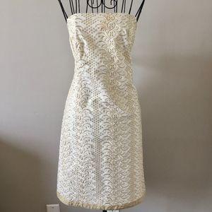 Banana Republic Metallic Eyelet Strapless Dress